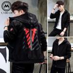 เสื้อแจ็คเก็ตฮู๊ด Polyester สีดำ PR001 (พร้อมส่ง)