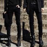 กางเกงยีนส์ไต้หวัน สีดำล้วน P005 รุ่น Slim กระบอกเล็ก <สินค้านำเข้า> ลดราคาพิิเศ