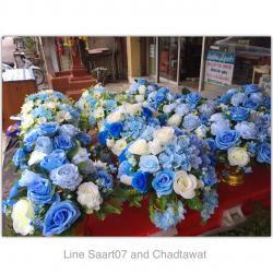 พานดอกไม้สีฟ้า