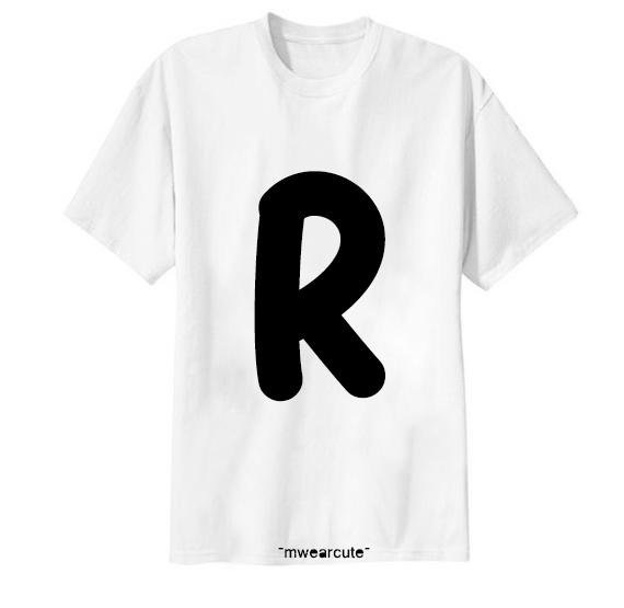 เสื้อยืด ตัวอักษร R