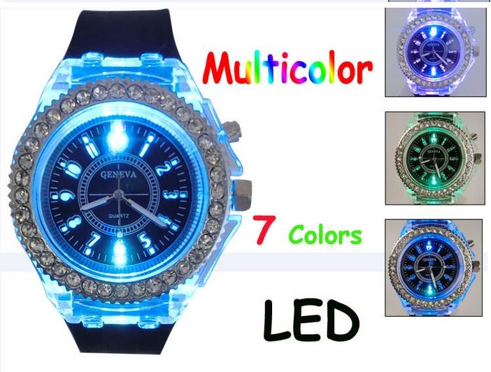 นาฬิกาข้อมือเรืองแสง LED ไฟกระพริบ ล้อมเพชร