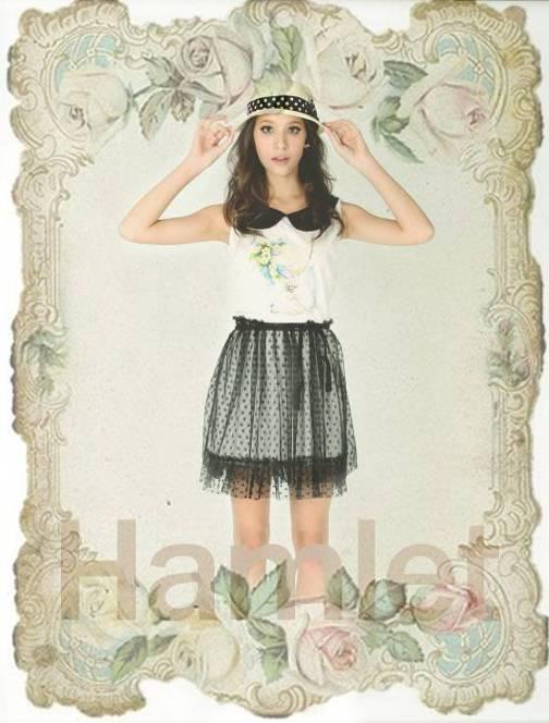 HAM159 HAMLETเดรสสีขาว-ดำลายกระต่าย กระโปรงตาข่าย