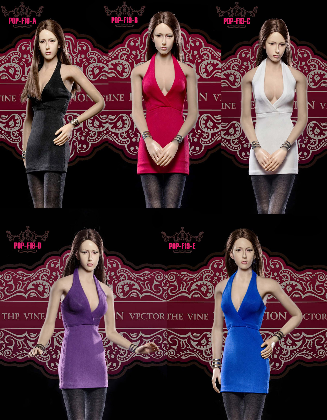 POPTOYS F19 Ladies sexy low-cute halter dress suit