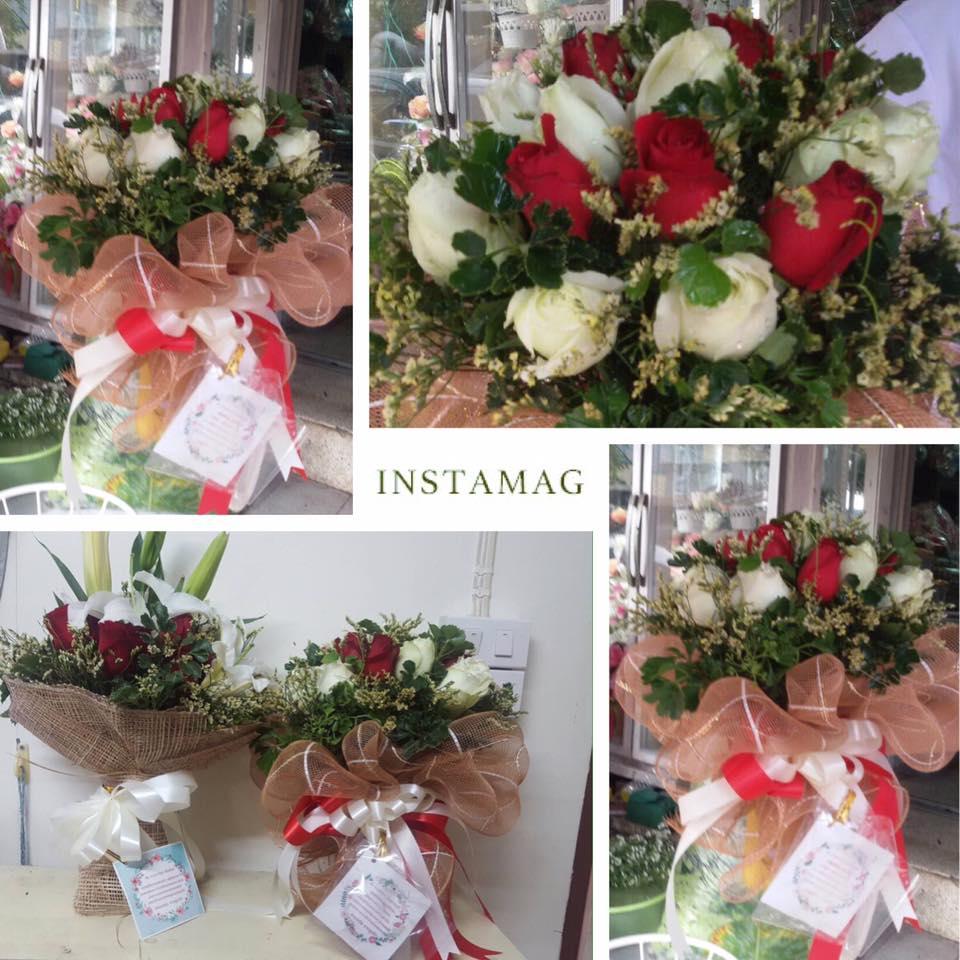ช่อดอกกุหลาบ ขาวแดง