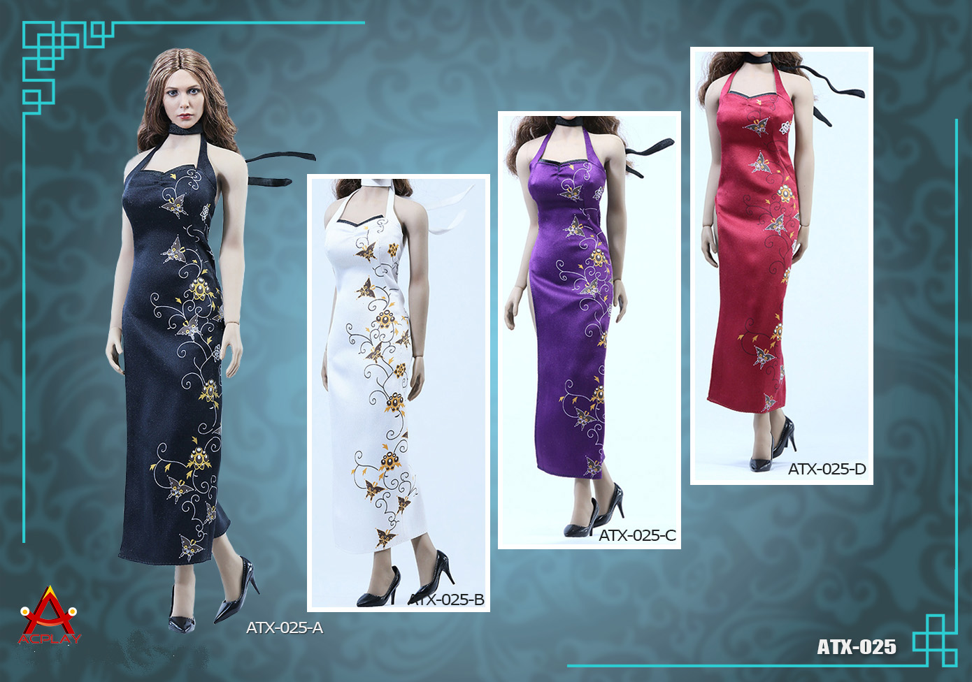 ACPLAY ATX025A-D high open cheongsam dress set