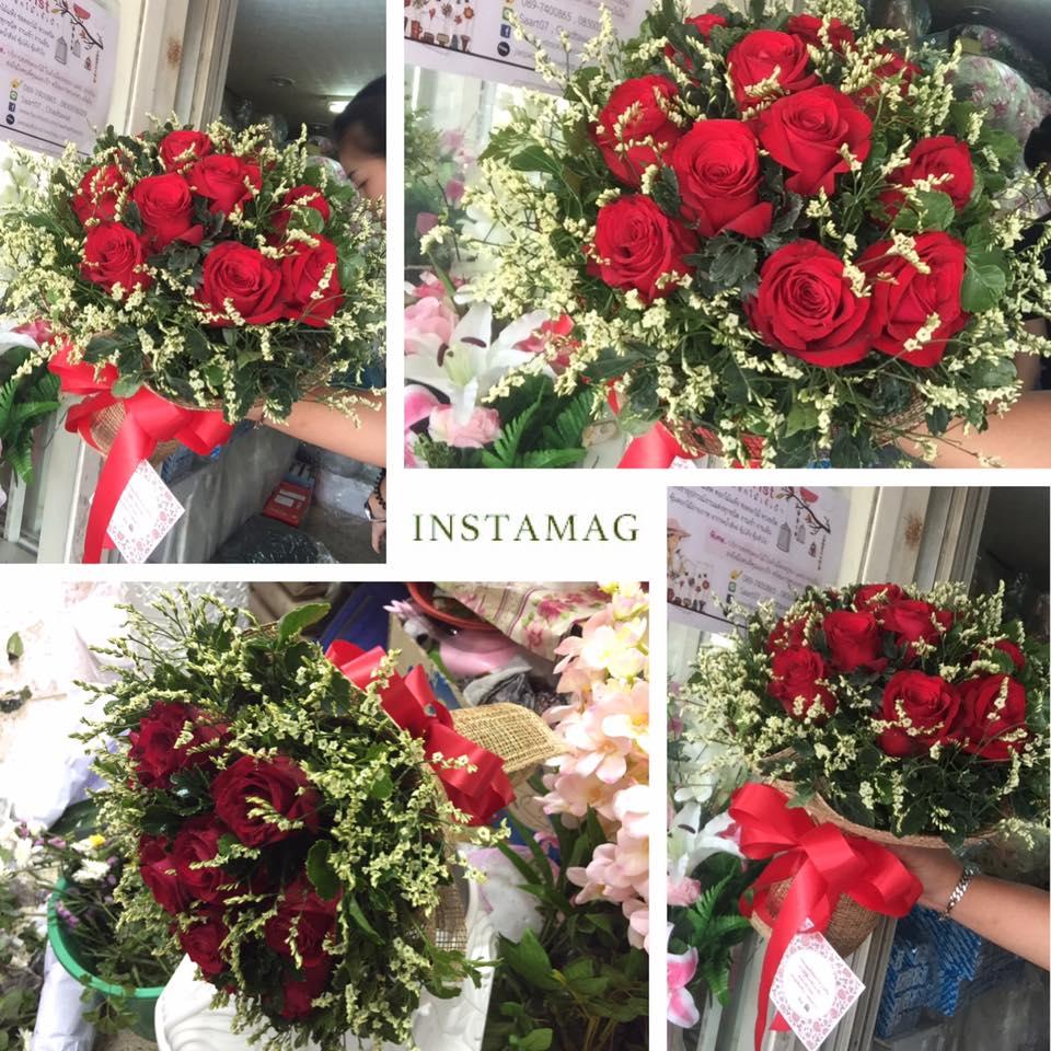 ช่อดอกกุหลาบ สีแดง