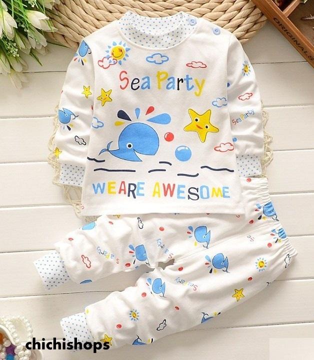 ชุดนอนเด็กน่ารักลาย Sea Party