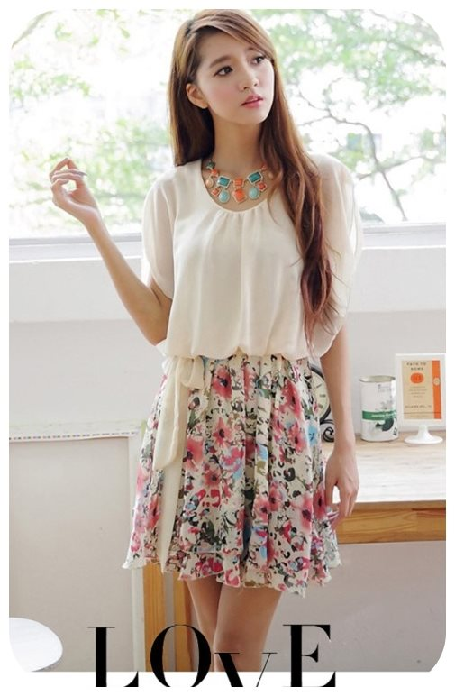 K1068 หมดค่ะ เดรสสวยๆจร้า เสื้อชีฟองสีครีมกระโปรงลายดอกไม้