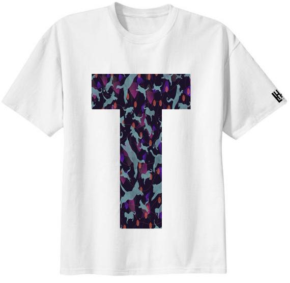 เสื้อยืด ลาย ตัวอักษร T
