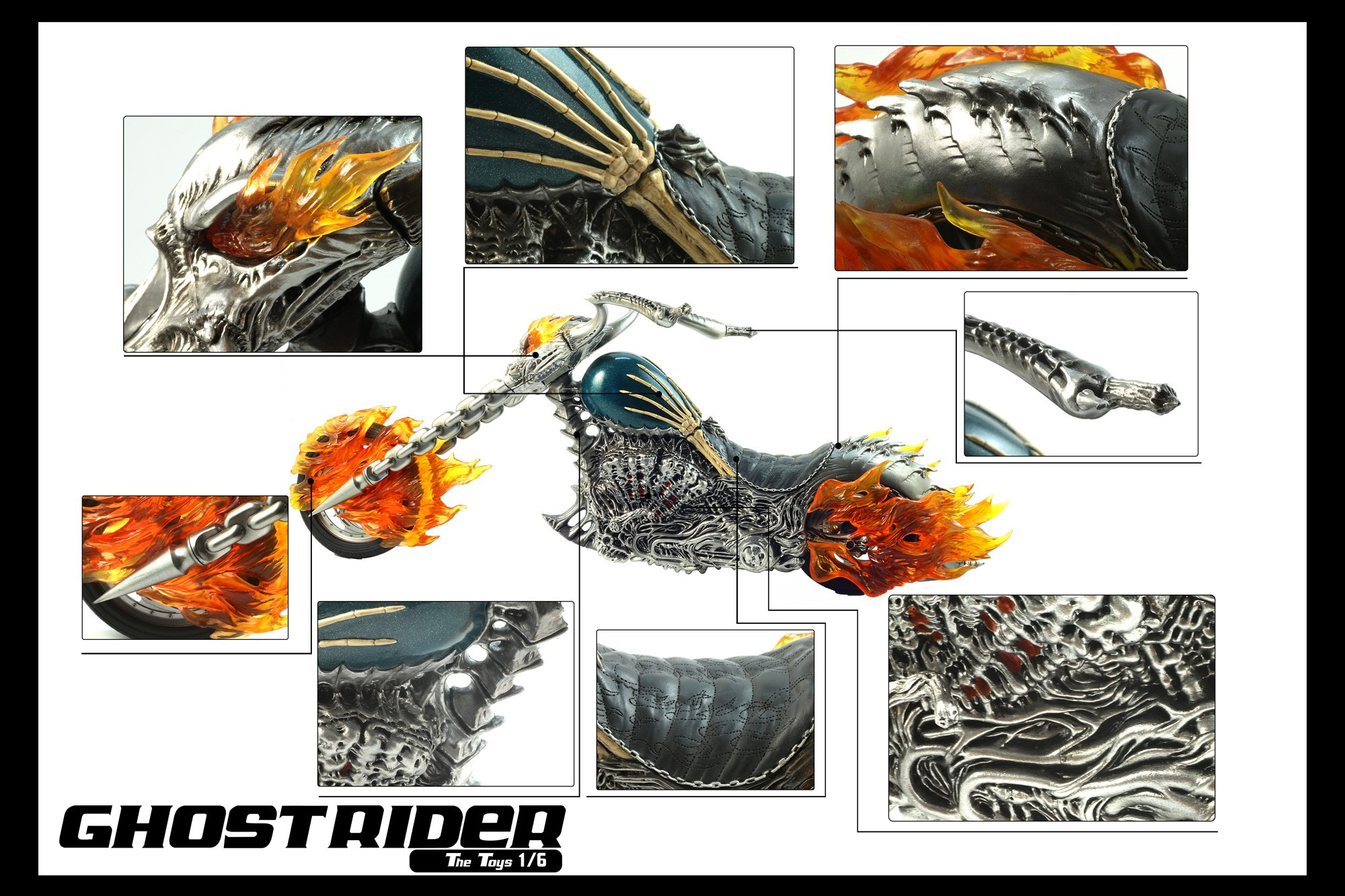 The Toys VF02A Ghost Rider Motorcycle (Lighting Ver.) Red flame