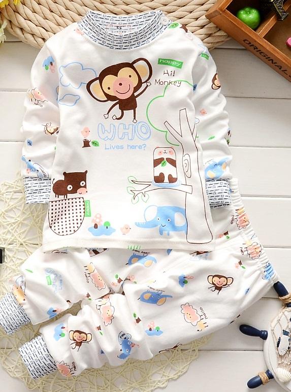 ชุดนอนเด็กน่ารัก set 8 ลายลิงสีฟ้า