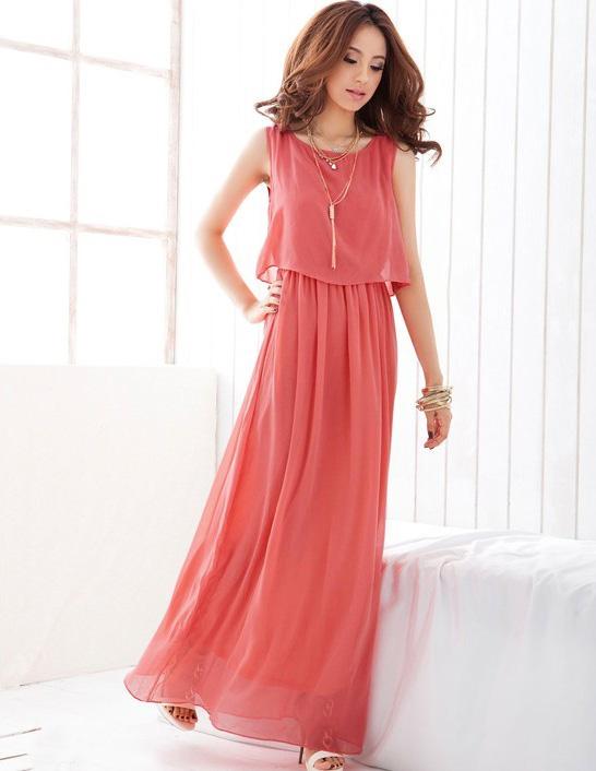 *หมดค่ะ* Maxi Dress สีชมพูเข้ม ผ้าชีฟองพริ้วสวยๆจ้า