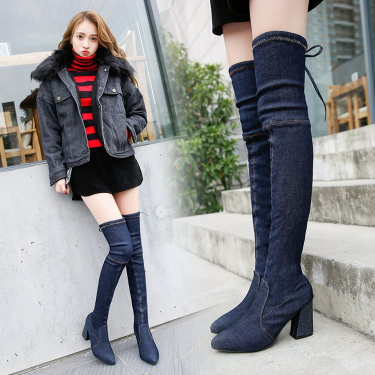[มี2สี] รองเท้าบูทยาวผู้หญิงส้นสูง ผ้ายีนส์ หัวแหลม ส้นใหญ่ ผูกเชือกด้านหลัง ทรงสวย แฟชั่นสไตล์เกาหลี ส้นสูง 3 นิ้ว