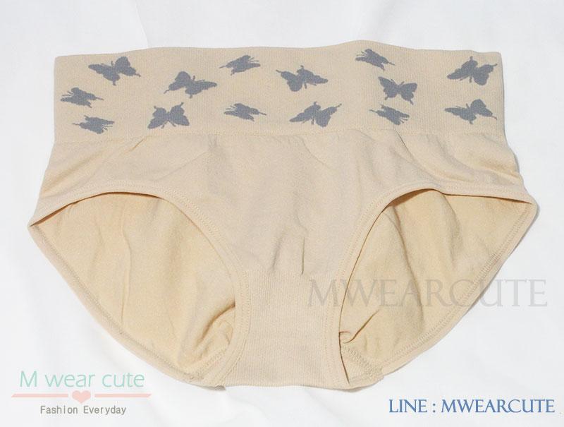 กางเกงในเอวสูง กางเกงในขอบใหญ่ กางเกงในผู้หญิง ลายผีเสื้อ สีเนื้อ