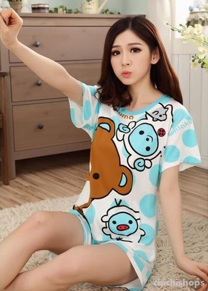 ชุดนอนแขนสั้นน่ารัก ลายหมีริลัคคุมะ สีฟ้า