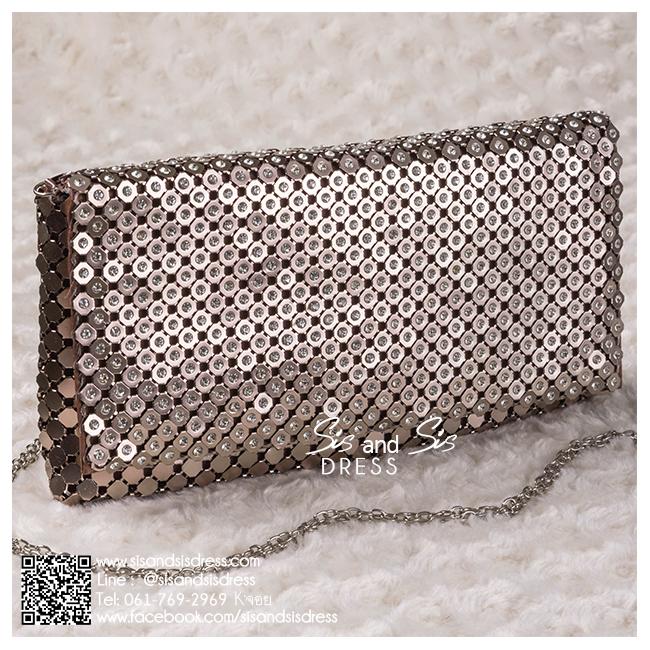 bs0017 กระเป๋าคลัช สีน้ำตาล กระเป๋าออกงานพร้อมส่ง ราคาถูกกว่าเช่า แบบสวยๆ ดูดีเหมือนดาราใช้