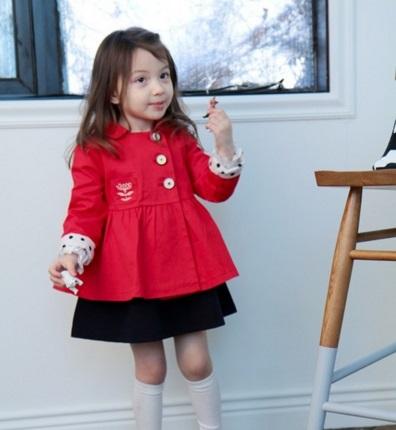 Pre-order ปลีก เสื้อคลุม / Size 130 /สีแดง