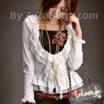 K507 *หมดค่ะ*เสื้อคลุม สีขาว ผ้ายืดคอตต้อน รอบคอเสื้อ แต่งผ้าลูกไ