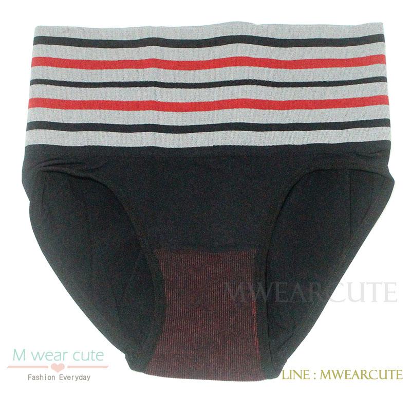 กางเกงในเอวสูง กางเกงในขอบใหญ่ ลายเส้น สีดำ