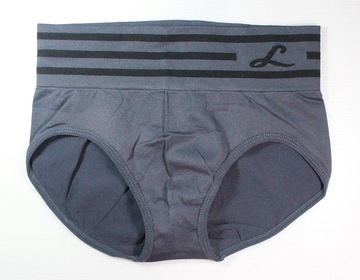 กางเกงในเอวสูง กางเกงในขอบใหญ่ L แถบลาย สีเทา