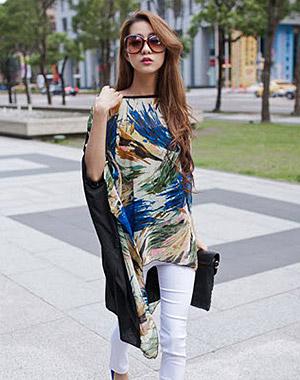K1026 หมดค่ะ เสื้อชีฟองลายโทนสีน้ำเงิน แขนผีเสื้อ สวยๆค่า