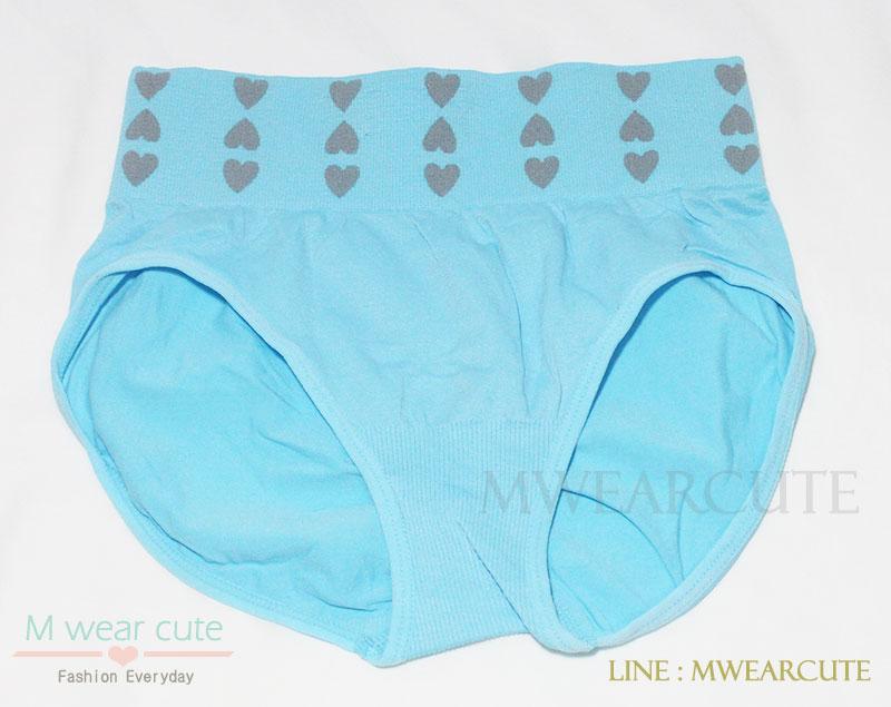 กางเกงในเอวสูง กางเกงในขอบใหญ่ ลายหัวใจเล็ก สีฟ้า