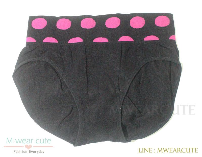 กางเกงในเอวสูง กางเกงในขอบใหญ่ กางเกงในผู้หญิง ลายจุด ดำ