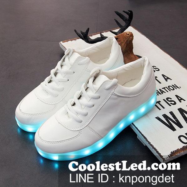 รองเท้ามีไฟ รองเท้า LED สีขาว เปลี่ยนสีได้ 11 สี