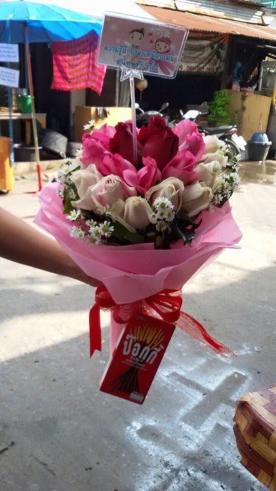 ช่อดอกกุหลาบสีชมพู ดอกไม้สด