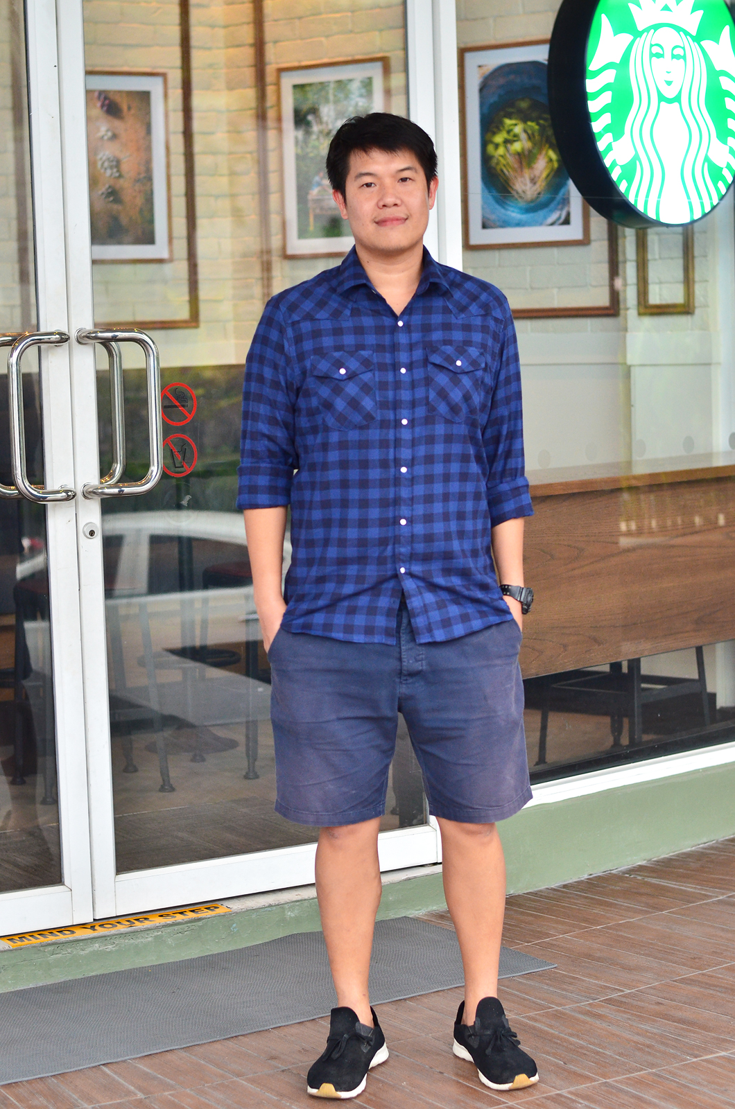 เสื้อลายสก๊อตผู้ชายสีน้ำเงิน