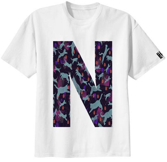 เสื้อยืด ลาย ตัวอักษร N