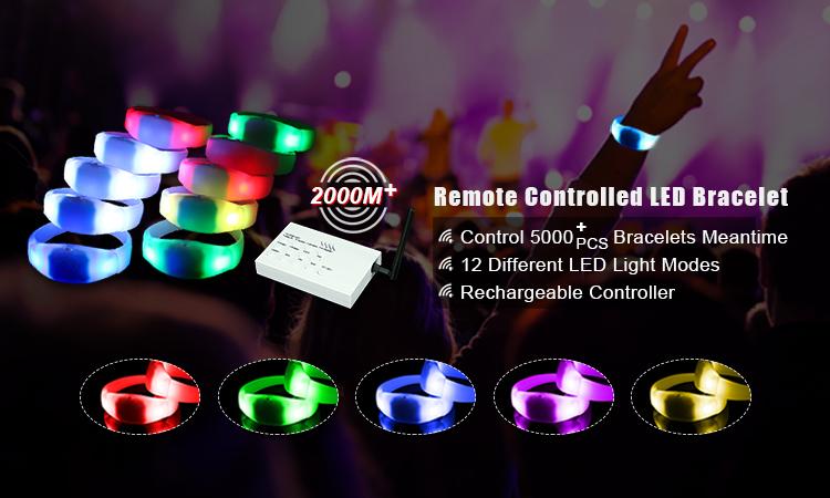 กำไลข้อมือไฟกระพริบแบบควบคุมการเปลี่ยนสีด้วยรีโมทคอนโทรล