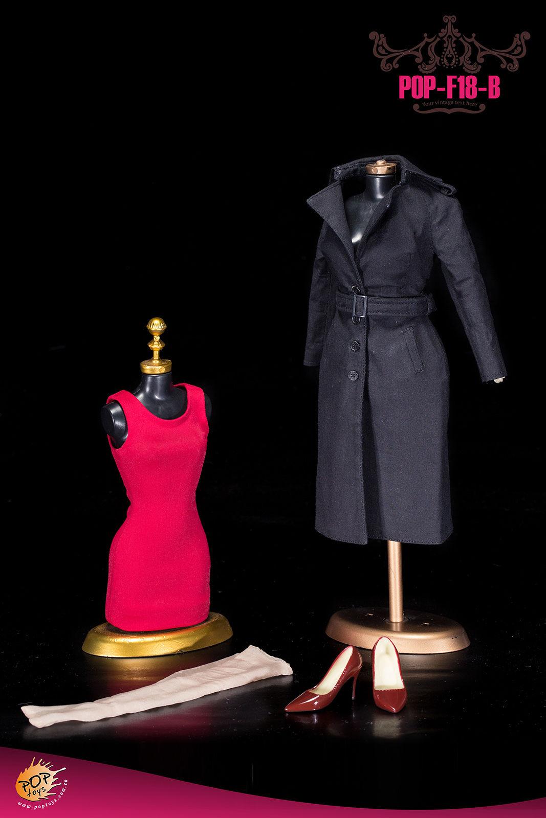 POPTOYS F18B The British Women's Windbreaker Suit ชุดคลุมสีดำ