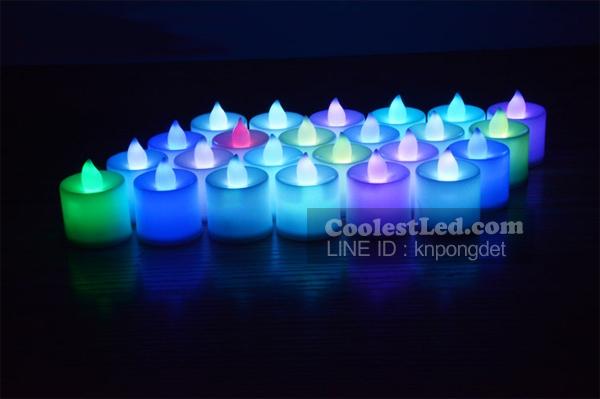เทียน LED เทียนใส่ถ่าน เปลวไฟกระพริบเหมือนไฟจากเทียนจริง แบบกระพริบสลับสี