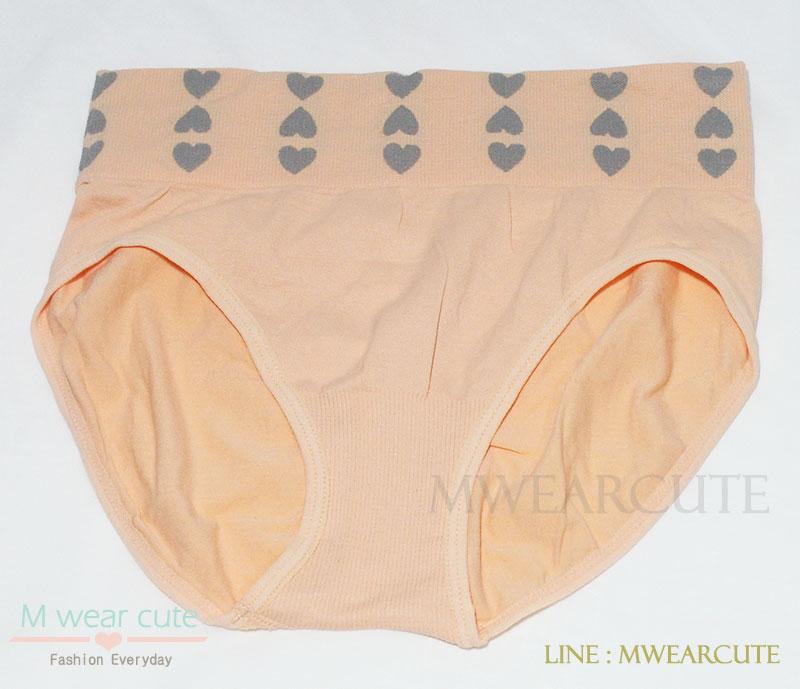 กางเกงในเอวสูง กางเกงในขอบใหญ่ ลายหัวใจเล็ก สีส้ม