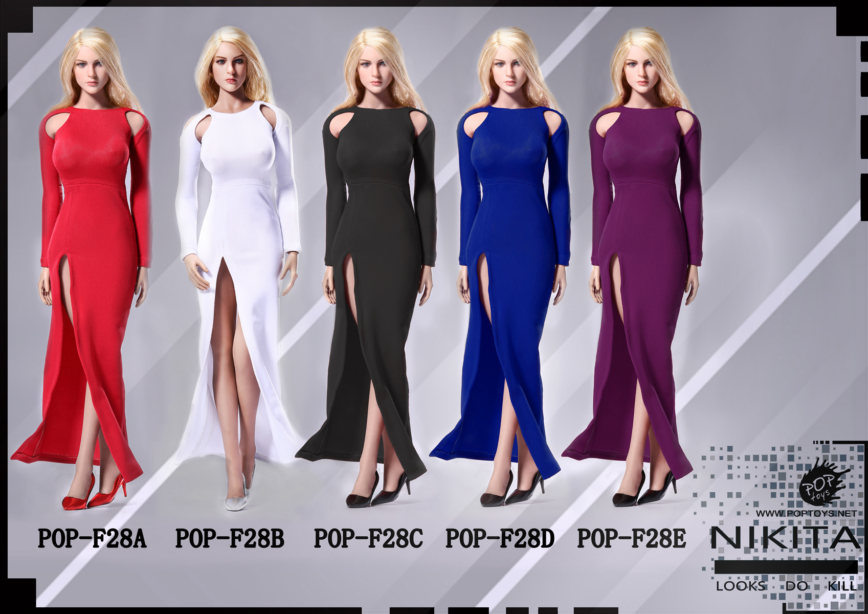 POPTOYS F28A-E NIKITA bare-shouldered evening dress suit