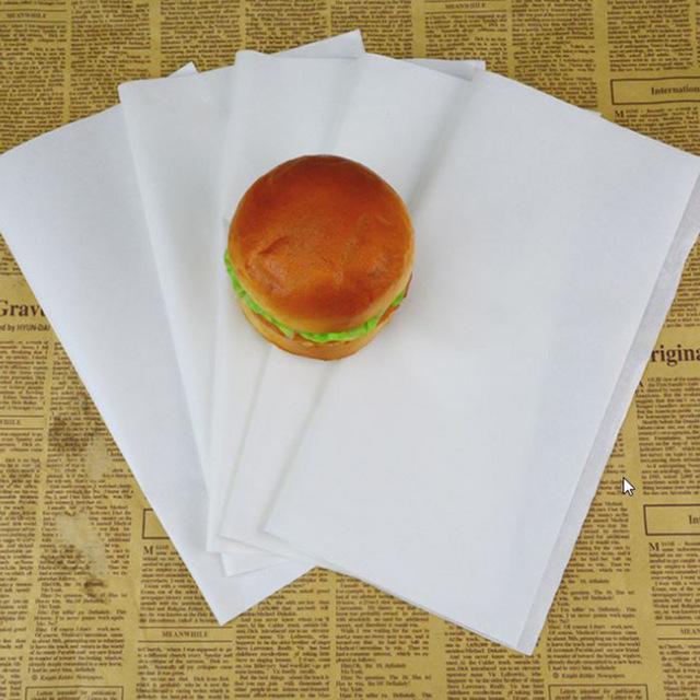 กระดาษแรพแซนวิช เบอร์เกอร์ ฟู้ดส์เกรด ไม่พิมพ์ลาย ขนาด 30 x 30 ซม.