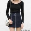 C165 Minimal Skirt Pant กางเกงกระโปรง พร้อมส่งสีดำ คล้ายผ้าหนังกลับ แต่งซิปห่วง เก๋มากๆ