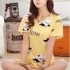 ชุดนอนน่ารักแขนสั้นลายวัว milk สีเหลือง