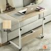 โต๊ะวางโน๊ตบุ๊คและอเนกประสงค์ ขนาด 80x40 สูง70-90 ซม. มีล้อ รุ่นปรับระดับได้ สีเมเปิ้ล