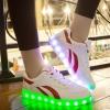 รองเท้ามีไฟ รองเท้า LED สีขาว มีแถบสีแดง2เส้น เปลี่ยนสีได้ 11 สี สินค้าพรีออเดอร์