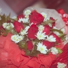 ช่อดอกไม้กุหลาบ (ดอกเล็ก) สีแดง