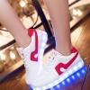 รองเท้ามีไฟ รองเท้า LED สีขาว มีแถบสีแดง เปลี่ยนสีได้ 11 สี สินค้าพรีออเดอร์