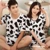 ชุดนอนคู่รักแขนสั้นน่ารัก ลายวัวขาวดำ