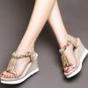[มีหลายสี] รองเท้าส้นเตารีด ทรงหัวปลา หน้าประดับเพชรสไตล์โรมัน มีสายรัดส้น สูง 3.5 นิ้ว