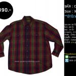 C2228 เสื้อลายสก๊อตสีน้ำเงินแดง ไซส์ใหญ่