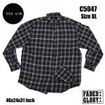 C5047 เสื้อเชิ้ตลายสก๊อต ผู้ชายสีดำ FADED GLORY