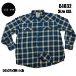 C4032 เสื้อลายสก๊อตผู้ชาย สีน้ำเงิน ไซส์ใหญ่