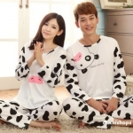 ชุดนอนคู่รักขายาวลายหน้าวัว