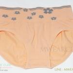 กางเกงในเอวสูง กางเกงในขอบใหญ่ ลายดอกไม้ สีส้ม